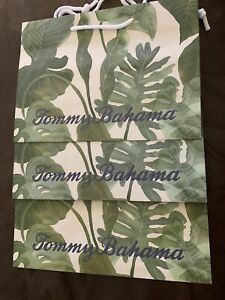 """(2)TOMMY BAHAMA Paper Gift Shopping BAGS Tropical Green Leaf 12"""" x 8.75"""" x 5"""""""