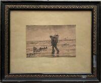 Holger Peter Svane Lübbers (1850-1931) Muschelfischer am Strand Skizze 27 x 33
