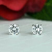Solid 14K White Gold Earrings Round 1.00 Ct Real Diamond Women Earring Stud VS1