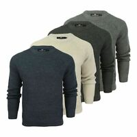Crosshatch General Mens Jumper Waffle Knitted Crew Neck Wool Mix Sweater