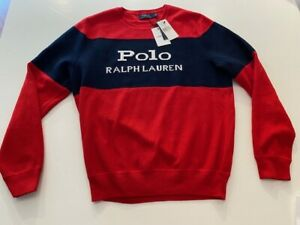 Polo Ralph Lauren Logo Knit Jumper Red Sz L New with Tags $219 Retail w/ Invoice
