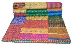 Handmade Patchwork Kantha Embroidery Single Blanket Throw Indian Bedspread