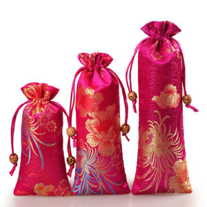 Pink Satin Drawstring Gift Bags Party Favor Present Small Cloth Jewelry Pouches