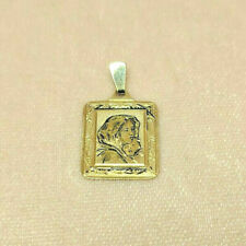 Virgin Mary charm 14K SOLID Gold Etched and Antiqued Finish