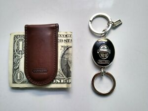 COACH Leather Money Clip and Silver & Black Tone Double Key Ring-Made in China