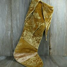 Christmas Stocking Large Jester Joker Gold Velveteen Velvet Embossed Bells