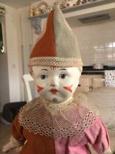 Antique Carton Doll.Paper mache toy clown doll.18 inches.