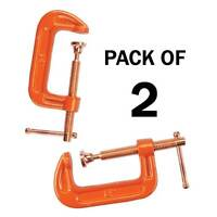 """PACK OF 2 CAST IRON 2"""" 50 MM G CLAMPS WOOD WORKING WELDING CRAMPS COPPER PLATED"""