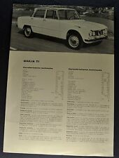 1964 Alfa Romeo Giulia Ti Sales Brochure Sheet 4 Language Text Nice Original 64