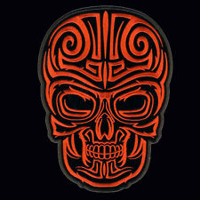 DESIGN SKULL EMBROIDERED IRON ON  10 INCH (XXL) BIKER PATCH