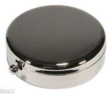 Harry Koenig Kingsley #KM-08 SILVER - PLATED ROUND TRAVEL PILL BOX