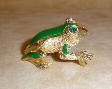 Sassy Little Bright Green Enamel & Rhinestone Frog Pin by De Nicola Jewelry