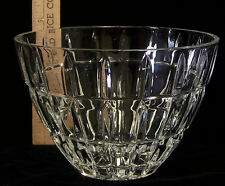"Crystal Glass Serving Bowl Decorative Fruit Salad Textured Ribbed Design 5"" Tall"