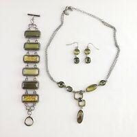 Lia Sophia Macy Bracelet Necklace Earrings Set Green Katie Bold Silver Tone