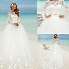 Ball Gown Long Sleeve Train White Ivory Beach Bridal Lace Wedding Dresses Custom