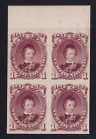 Newfoundland Sc #32TC (1868) 1c dark red brown Prince of Wales Plate Proof Block