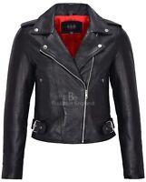 Ladies Leather Brando Style Jacket Black Style Fitted Jacket Short Length Black