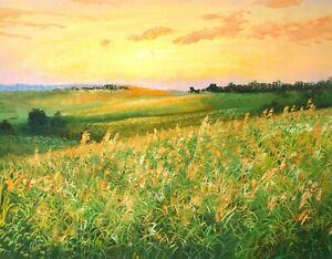 Original Oil Painting On Canvas - Landscape - Golden Reed, Grassland