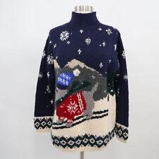 Ralph Lauren Sweater Pullover Wool PM Petites Winter Dog Ski Winter Hand Knit