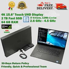 Dell XPS 15.6″ 4K Touchscreen 64GB RAM 2TB SSD i7 2.6GHz-4.5GHz 4GB DG Laptop