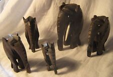 5 kleine Elefanten aus Ebenholz alt