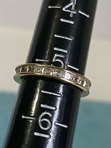 Diamonique Stack Ring 14K Yellow Gold Eternity Band Wedding Band