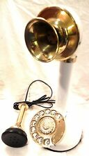 ANTIQUE / VINTAGE LOOK BRASS CANDLESTICK TELEPHONE ROTARY DIAL FULLY WORKING