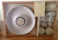 NIB Pottery Barn Honeysuckle Tea light Tray With Scented Stones And Oil
