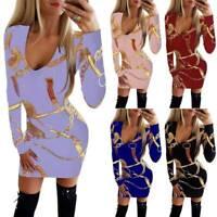 Women Bodycon Deep V Neck Slim Mini Dress Long Sleeve Autumn Party Club Cocktail