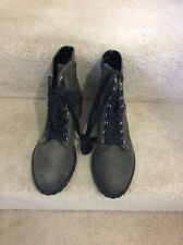 NEW LOOK Green Lace Up Army Style Ankle Boots, Side Zip, UK Size 5