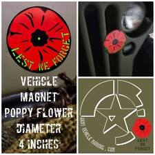 Vehicle Car Magnet diameter 4 inches - Poppy Flower - Lest we Forget