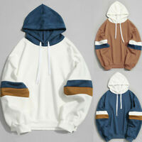 Men's Casual Patchwork Slim Fit Hoodie Blouse Pullover Sweatshirt Autumn Outwear