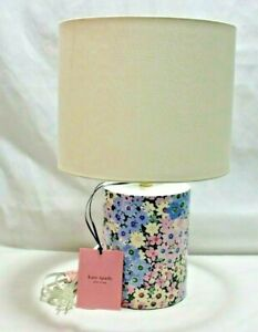 Kate Spade Blue Pink & Yellow Floral Cylinder Ceramic Table Lamp & Shade New