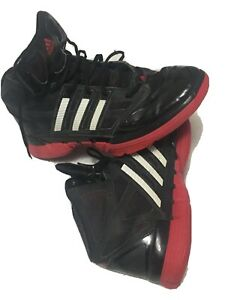 Vintage Adidas Red Sole HighTop men's 10.5 Patent Leather Black Red&White