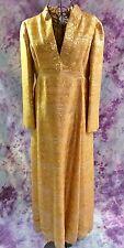 Vintage 60s Gold Metallic Brocade Malcolm Starr Elinor Simmons Kaftan Maxi Dress