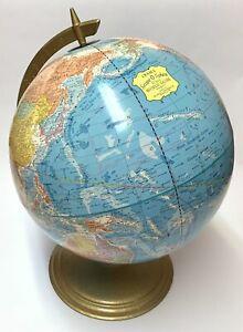 "Vintage 80's Cram's 12"" Scope-O-Sphere World Blue Globe Geography Map Metal Base"
