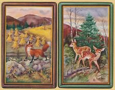 2 Single VINTAGE Swap/Playing Cards ANIMALS FOX ON ROCKS DEER DOE FAWN