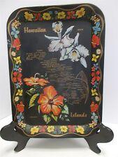 Vintage Tiki Decor Hawaiian Islands Souvenir Metal Tray Map Flowers Sailfish