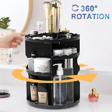 Black Makeup Rack 360°Rotating Cosmetic Organizer Case Holder Jewelry Storage