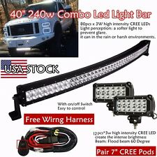 40inch COMBO Curved LED Light Bar + 2X 7inch CREE Lamp Offroad SUV UTE 4WD Truck