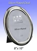 """Silver Plated Oval Velvet Backed Photo Frame10x8"""".Hanging or Standing.(2-302-80)"""