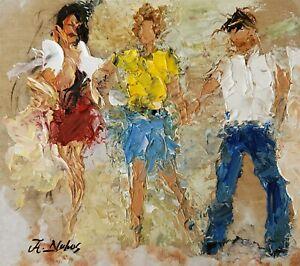 ANDRE DLUHOS ORIGINAL ART OIL PAINTING People Figures Los Angeles Malibu Fashion