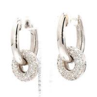 18K White Gold 1.07ctw Diamond Hinged Dangle Charm Hoop Earrings