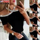 Sexy Women Cold Shoulder T Shirt Ladies Summer Short Sleeve Slim Fit Blouse Tops