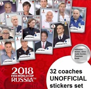32 UNOFFICIAL STICKERS PANINI NATIONAL TEAM COACH MANAGERS WORLD CUP RUSSIA 2018