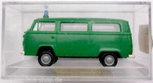 VW Bus T2 Modell - Brekina 1:87 H0 - Polizei - Grün - NEU