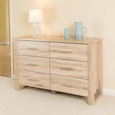 Christow Oak Effect 6 Drawer Bedroom Cabinet Bedside Chest Of Drawers