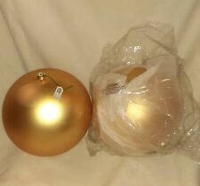 """New Vickerman 14"""" Inch Gold Ball Ornaments Lot Of 2 Large Shatterproof Gold Deco"""