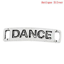 8 Silver Tone Metal DANCE Rectangle Stamped Charm Connector Links . chs0257