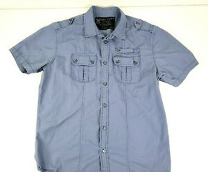 Marc Ecko Button Up Shirt Mens Short Sleeve Blue Cut & Sew Casual Size Large